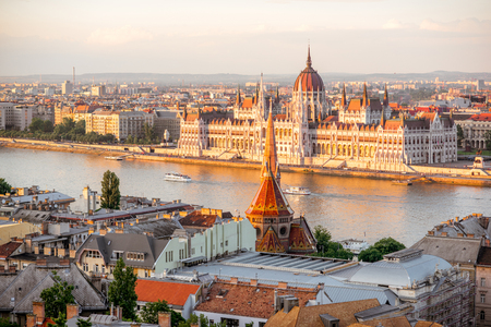 Cityscape view with famous Parliament building during the sunset light in Budapest, Hungary