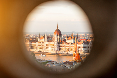 View through the hole on the famous Parliament building in Budapest city, Hungary Stock fotó