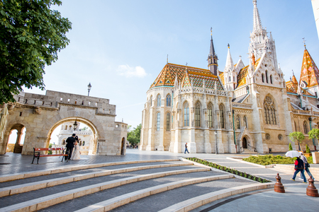 HUNGARY, BUDAPEST - MAY 19, 2018: Fishermans bastion with famous Mattias cathedral durnig the morning light in Budapest