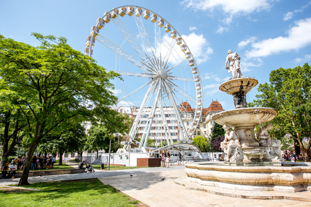 HUNGARY, BUDAPEST - MAY 19, 2018: Budapest Eye ferris wheel set up in the city center at the Elisabeth square opened in March 2017