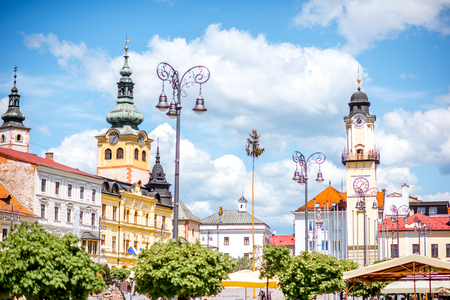 Old city center in Banska Bystrica city during the sunny weather in Slovakia Stock Photo