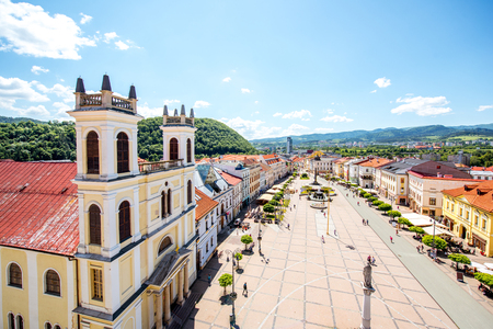 Old city center in Banska Bystrica city during the sunny weather in Slovakia Stockfoto