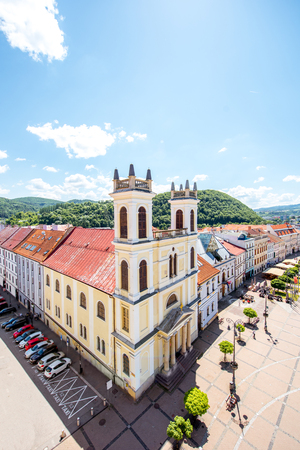 Old city center in Banska Bystrica city during the sunny weather in Slovakia 스톡 콘텐츠