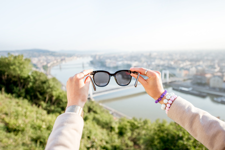 Looking through the sunglasses on the landscape view on Budapest city during the morning light, Hungary Reklamní fotografie