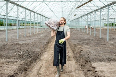 Handsome farmer in working uniform carrying bag with bark for mulching in the glasshouse Stock Photo