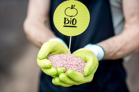 Boer bedrijf bio meststoffen met groene plaat, vergrote weergave
