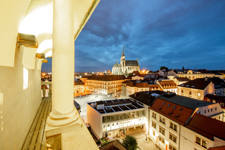 Night cityscape view on the old town with famous cathedral in Brno city, Czech republic Stock Photo