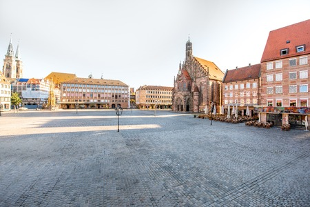 Morning view on the market square with church of Our Lady in Nurnberg, Germany Reklamní fotografie - 109235610