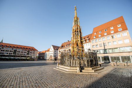 Morning view on the market square with beautiful Fountain in Nurnberg, Germany