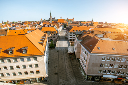 Top panoramic cityscape view on the old town with main central street in Nurnberg during the sunrise, Germany