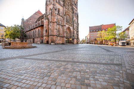 Morning view on the saint Lorenz cathedral in the old town of Nurnberg, Germany