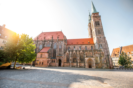Morning view on the saint Sebaldus cathedral in the old town of Nurnberg city, Germany