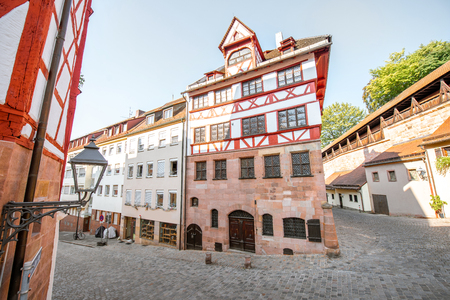 Beautiful half-timbered houses in the old town of Nurnberg, Germany