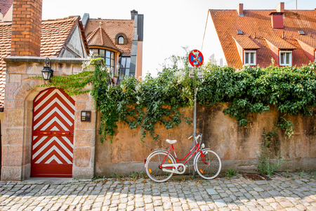 Morning street view with old bicycle in Nurnberg, Germany