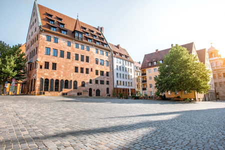 Morning street view near saint Sebaldus cathedral in the old town of Nurnberg, Germany