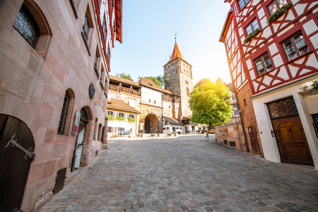 Morning street view with half-timbered houses and old building in Nurnberg, Germany 写真素材