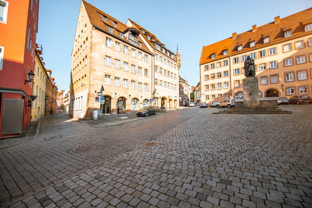 View on the central square with Albrecht Durer monument in the old town of Nurnberg, Germany