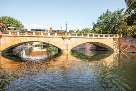 Landscape view the river and the stone bridge in Nurnberg, Germany