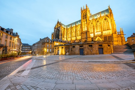 View on the beautiful illuminated cathedral in Metz during the twilight in Lorraine region of France Reklamní fotografie