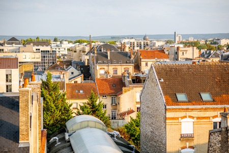 Aerial cityscape view with beautiful old buildings roooftops in Reims city in Champagne-Ardenne region, France 스톡 콘텐츠