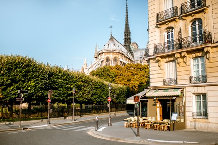 Street view with french cafe and Notre-Dame cathedral in Paris