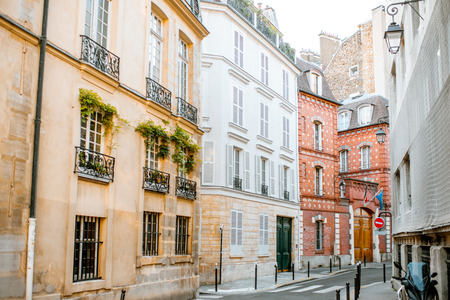 Street view with beautiful buildings in Paris, France