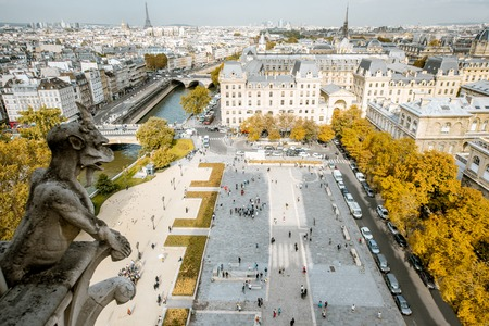Aerial panoramic view of Paris from the Notre-Dame cathedral during the morning light in France