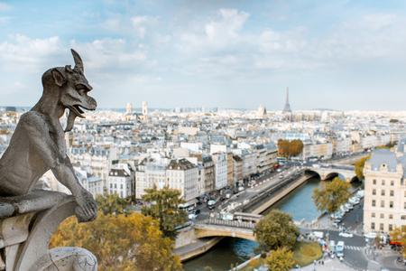 Vue panoramique aérienne de Paris avec sculpture de gargouille sur la cathédrale Notre-Dame pendant la lumière du matin en France