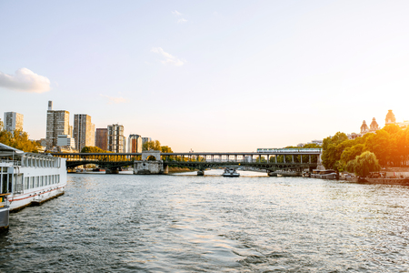 Landscape view on bir-hakeim bridge with modern residential buildings in Paris