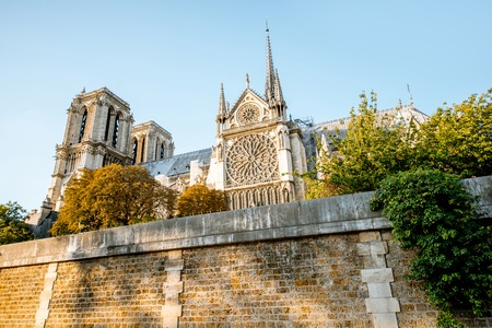 View from the boat on the famous Notre-Dame cathedral in Paris