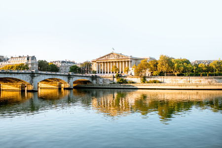Landscape view of Concordia Bridge with National Assembly of France in Paris Stok Fotoğraf