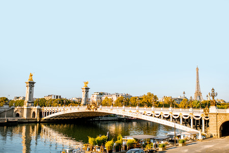 Alexandre bridge on Seine river during the morning light in Paris Stock Photo