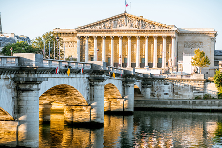 Landscape view of Concordia Bridge with National Assembly of France in Paris Stock Photo