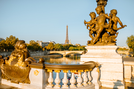 Sculptures on Alexandre bridge with Eiffel tower on the background during the morning light in Paris
