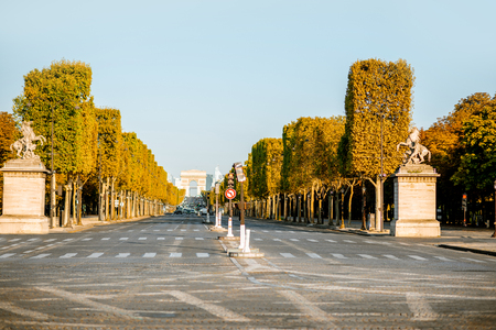 Street view of famous Elysian avenue during the morning light in Paris Stock fotó