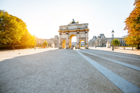 Triumphal arch at Tuileries gardens during the morning light in Paris