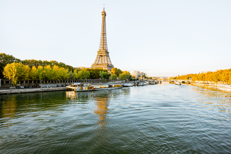 Landscape view of the riverside with Eiffel tower during the morning light in Paris Stock Photo