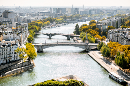 Aerial panoramic view of Seine river from the Notre-Dame cathedral during the morning light in Paris 写真素材