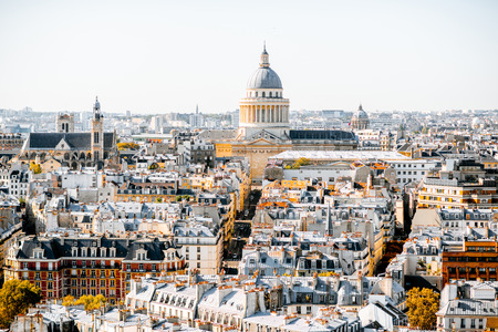 Aerial panoramic view of Paris from the Notre-Dame cathedral with Pantheon building during the morning light in France