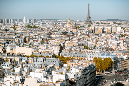 Aerial panoramic view of Paris from the Notre-Dame cathedral with Eiffel tower during the morning light in France Stock Photo