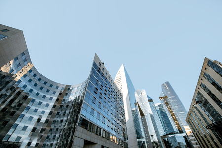 Morning view of La Defense financial district with beautiful skyscrapers in Paris