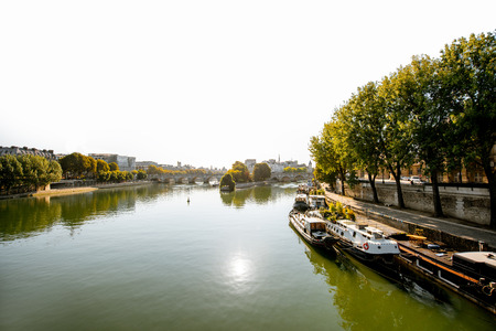 Landscape view of Seine river during the morning light in Paris