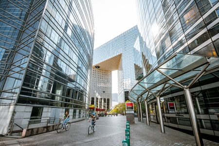 PARIS, FRANCE - September 02, 2018: Morning view on the modern skyscrapers in the business district of La Defense during the morning light in Paris