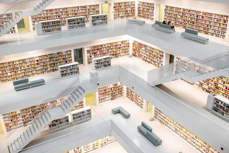 STUTTGART, GERMANY - August 10, 2017: Interior wide angle view on the Stuttgart City Library designed by Yi Architects and opened on October 21, 2011