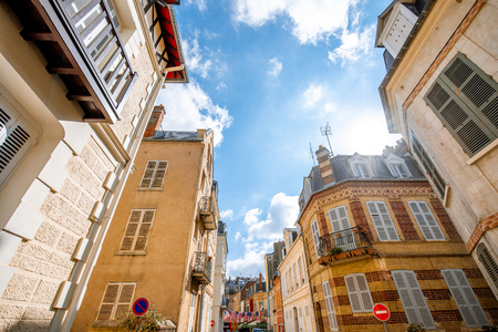 Street view with luxury buildings in the center of the old town of Trouville, famous french town in Normandy Stockfoto