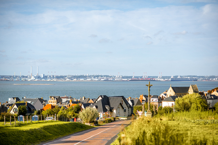 Landscape view on Villerville and ocean with La Havre port on the background in Normandy, France Stockfoto