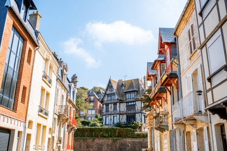 Street view with colorful buildings in Trouville, Famous french town in Normandy