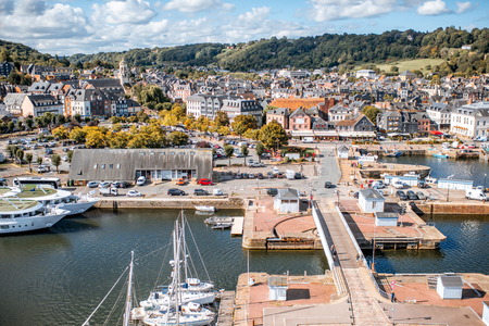 Aerial view on the port and old town of Honfleur, famous french city in Normandy