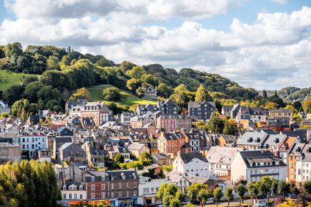 Aerial view on the hill and old buildings in Honfleur, famous french town in Normandy