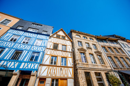 Beautiful colorful half-timbered houses in Rouen city, the capital of Normandy region in France Stock Photo